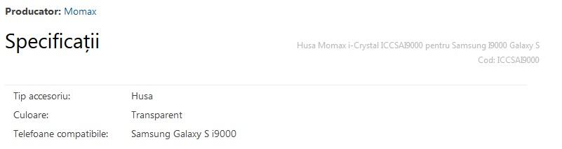 Specificatii husa i9000 Momax